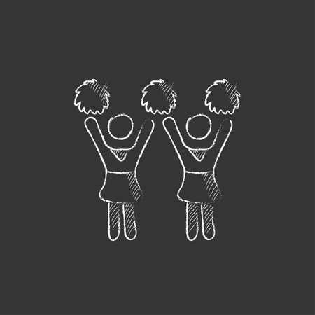 cheerleading squad: Cheerleaders. Hand drawn in chalk vector isolated icon for web, mobile and infographics. Illustration