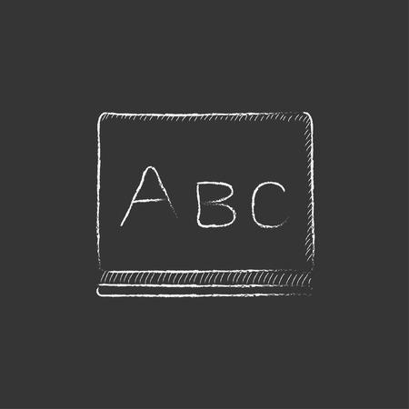 Letters abc on the blackboard. Hand drawn in chalk vector isolated icon for web, mobile and infographics.