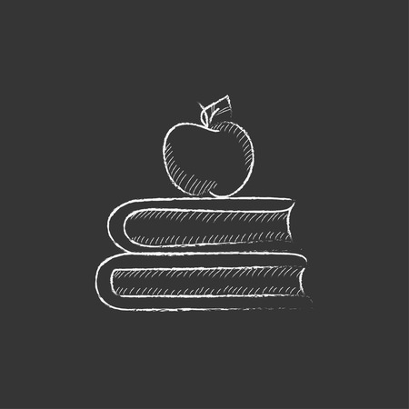 classbook: Books and apple on the top. Hand drawn in chalk vector isolated icon for web, mobile and infographics. Illustration