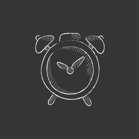 Alarm clock. Hand drawn in chalk vector isolated icon for web, mobile and infographics.
