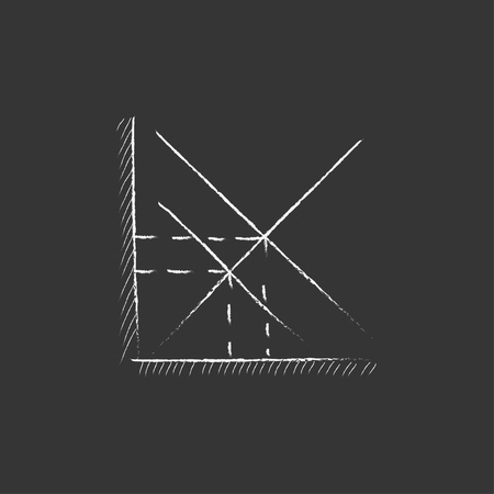 ordinate: Mathematical graph. Hand drawn in chalk vector isolated icon for web, mobile and infographics.