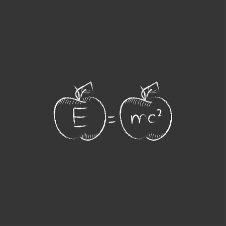 mc2: Two apples with formulae. Hand drawn in chalk vector isolated icon for web, mobile and infographics.
