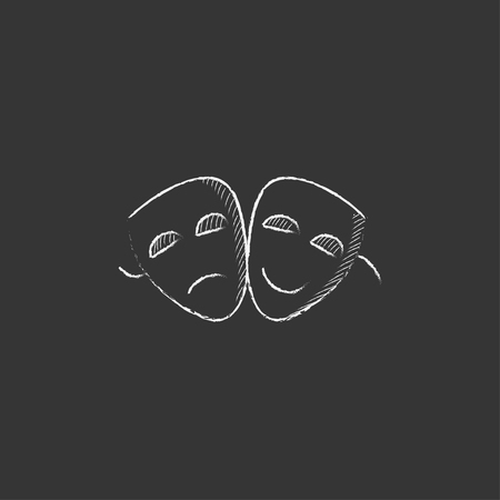 Two theatrical masks. Hand drawn in chalk vector isolated icon for web, mobile and infographics.