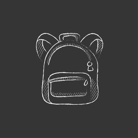 Backpack. Hand drawn in chalk vector isolated icon for web, mobile and infographics.