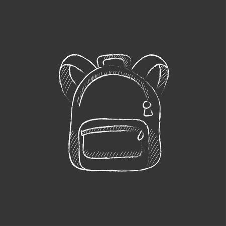 Rucksack. Hand in Kreide isoliert Vektor-Symbol gezeichnet für Web, Mobile und Infografiken.