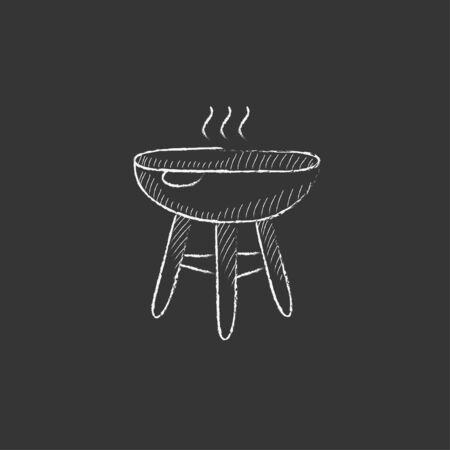 Kettle barbecue grill. Hand drawn in chalk vector isolated icon for web, mobile and infographics. Illustration