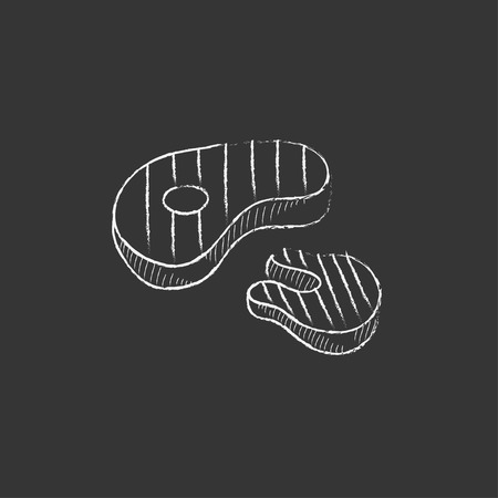 Grilled steak. Hand drawn in chalk vector isolated icon for web, mobile and infographics.Hand drawn vector isolated icon.