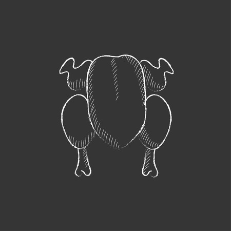 raw chicken: Raw chicken. Hand drawn in chalk vector isolated icon for web, mobile and infographics. Illustration