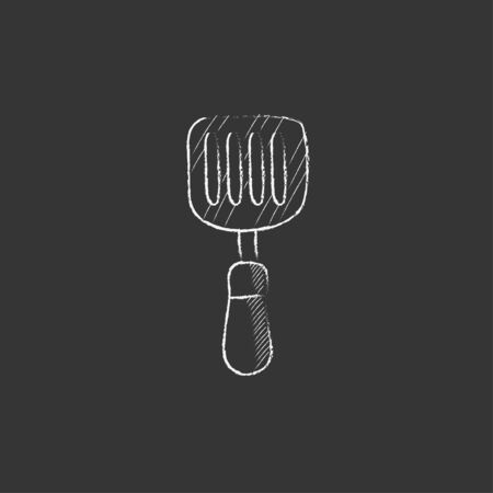 Kitchen spatula. Hand drawn in chalk vector isolated icon for web, mobile and infographics. 向量圖像