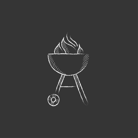 Kettle barbecue grill with flame. Hand drawn in chalk vector isolated icon for web, mobile and infographics.