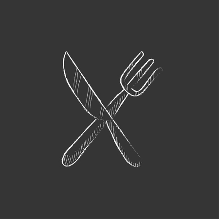 utility knife: Crossed  knife and fork. Hand drawn in chalk vector isolated icon for web, mobile and infographics.