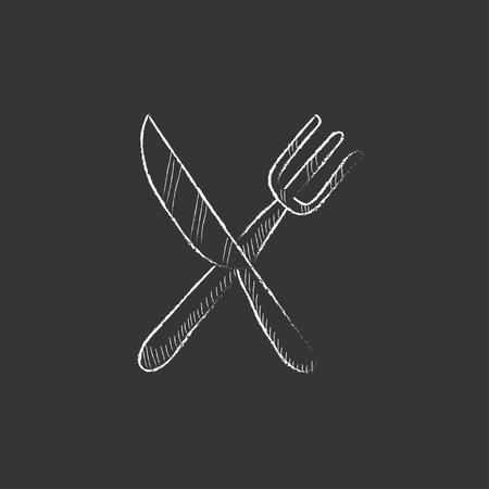 Kruislings mes en vork. De hand getekend in krijt geïsoleerde vector pictogram voor web, mobiel en infographics. Vector Illustratie
