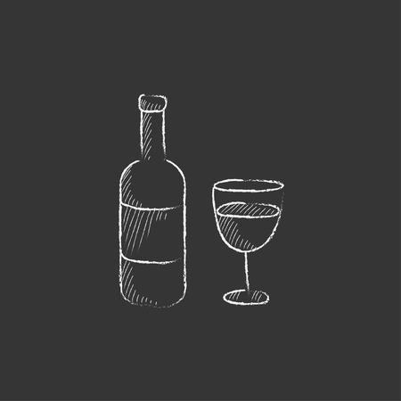 Bottle of wine. Hand drawn in chalk vector isolated icon for web, mobile and infographics.