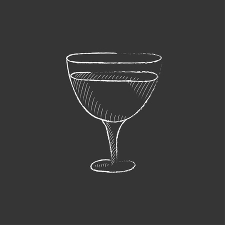 Glass of wine. Hand drawn in chalk vector isolated icon for web, mobile and infographics.