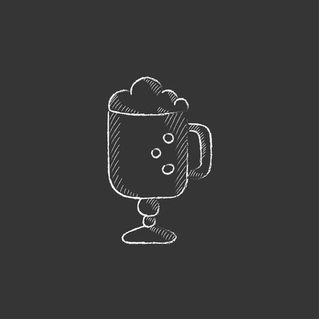 foam hand: Glass mug with foam. Hand drawn in chalk vector isolated icon for web, mobile and infographics.