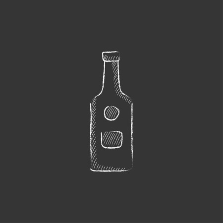 brandy: Glass bottle. Hand drawn in chalk vector isolated icon for web, mobile and infographics. Illustration