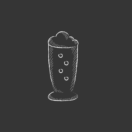 suds: Glass of beer. Hand drawn in chalk vector isolated icon for web, mobile and infographics.
