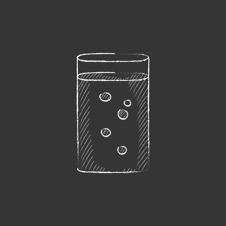 Glass of water. Hand drawn in chalk vector isolated icon for web, mobile and infographics.