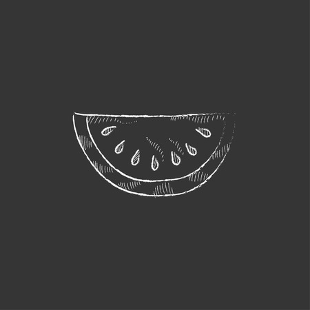sweet segments: Melon. Hand drawn in chalk vector isolated icon for web, mobile and infographics.