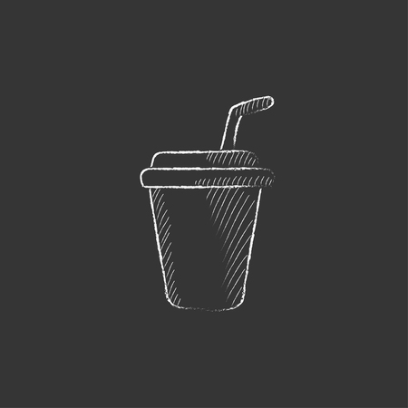 Disposable cup with drinking straw. Hand drawn in chalk vector isolated icon for web, mobile and infographics.