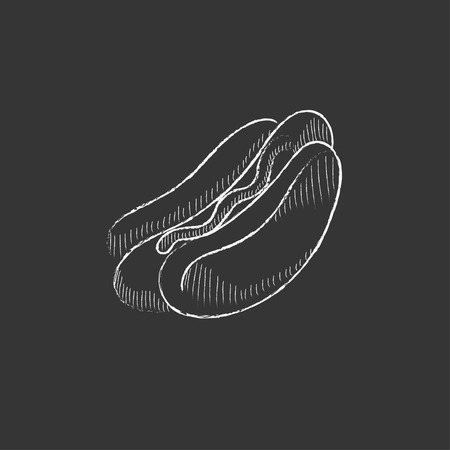 condiments: Hotdog. Hand drawn in chalk vector isolated icon for web, mobile and infographics.