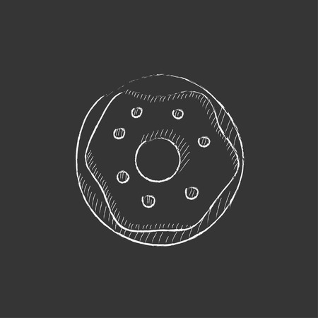 Doughnut. Hand drawn in chalk vector isolated icon for web, mobile and infographics.