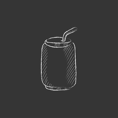 canned drink: Soda can with drinking straw. Hand drawn in chalk vector isolated icon for web, mobile and infographics. Illustration