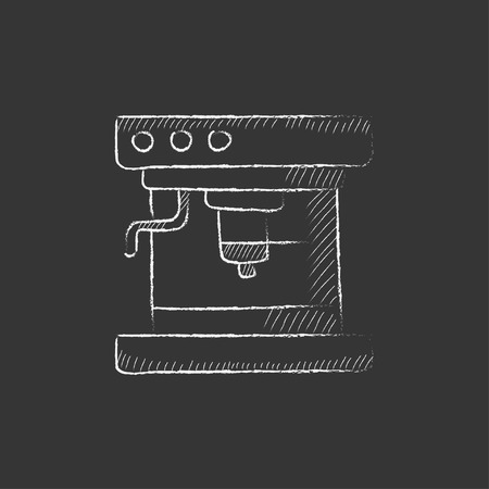 device: Coffee maker. Hand drawn in chalk vector isolated icon for web, mobile and infographics. Illustration