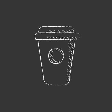 Disposable cup. Hand drawn in chalk vector isolated icon for web, mobile and infographics.
