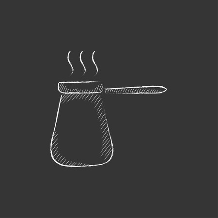 Coffee turk. Hand drawn in chalk vector isolated icon for web, mobile and infographics.
