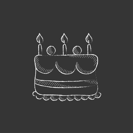 Birthday Cake With Candles Hand Drawn In Chalk Vector Isolated