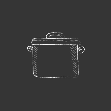 boil: Saucepan. Hand drawn in chalk vector isolated icon for web, mobile and infographics.