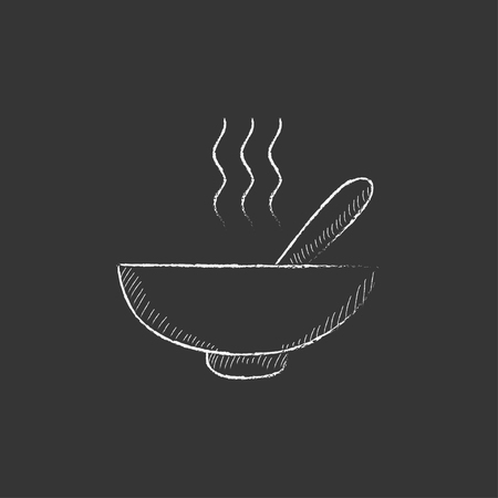 broth: Bowl of hot soup with spoon. Hand drawn in chalk vector isolated icon for web, mobile and infographics.