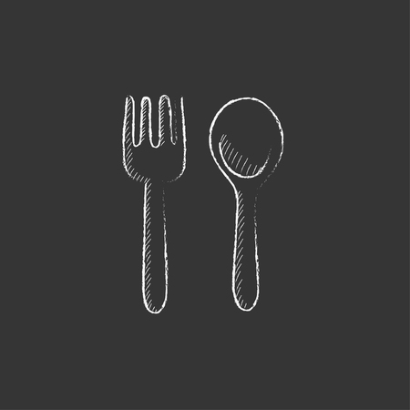 meat chopper: Spoon and fork. Hand drawn in chalk vector isolated icon for web, mobile and infographics. Illustration