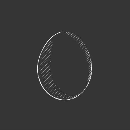 Egg. Hand drawn in chalk vector isolated icon for web, mobile and infographics.