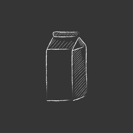 packaged: Packaged dairy product. Hand drawn in chalk vector isolated icon for web, mobile and infographics.