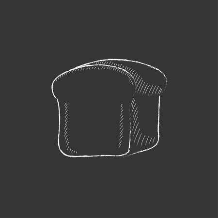 Half of bread. Hand drawn in chalk vector isolated icon for web, mobile and infographics.