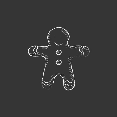 Gingerbread man. Hand drawn in chalk vector isolated icon for web, mobile and infographics.