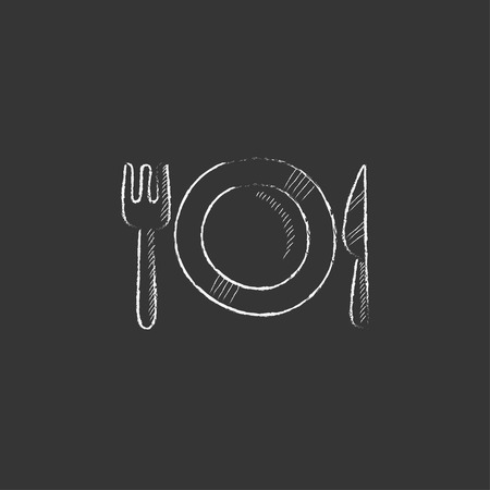 plate of food: Plate with cutlery. Hand drawn in chalk vector isolated icon for web, mobile and infographics. Illustration