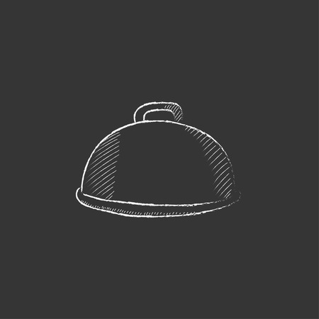 Restaurant cloche. Hand drawn in chalk vector isolated icon for web, mobile and infographics. Stock Illustratie