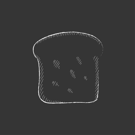 wholemeal: Single slice of bread. Hand drawn in chalk vector isolated icon for web, mobile and infographics. Illustration