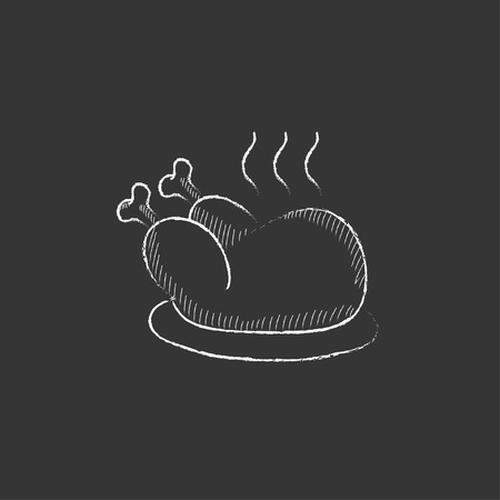 whole chicken: Baked whole chicken. Hand drawn in chalk vector isolated icon for web, mobile and infographics.