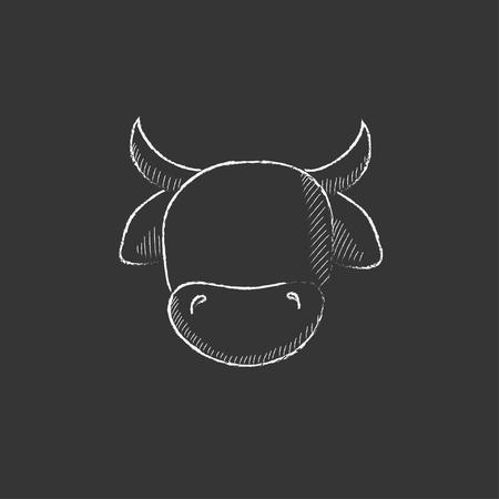 牛の頭。インフォ グラフィック、モバイル web のチョーク ベクトル分離アイコンで描画手。