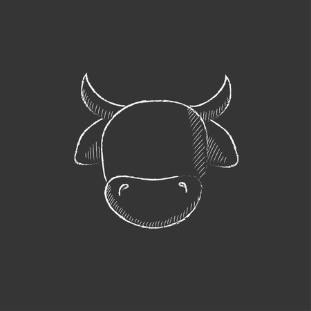 hoofed mammal: Cow head. Hand drawn in chalk vector isolated icon for web, mobile and infographics.