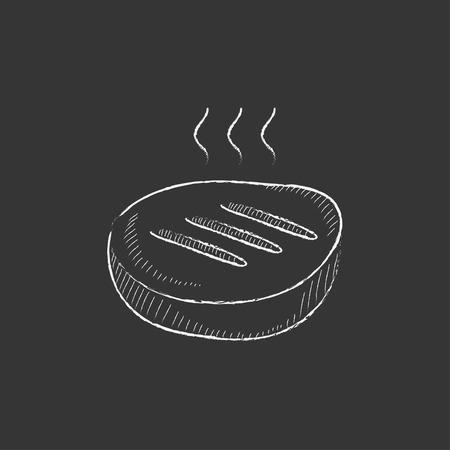 グリル ステーキ。インフォ グラフィック、モバイル web のチョーク ベクトル分離アイコンで描画手。