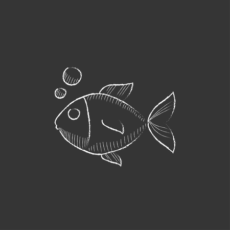Little fish under water. Hand drawn in chalk vector isolated icon for web, mobile and infographics.