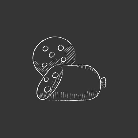 Sliced wurst. Hand drawn in chalk vector isolated icon for web, mobile and infographics.