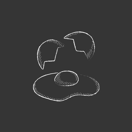 Broken egg and shells. Hand drawn in chalk vector isolated icon for web, mobile and infographics. Иллюстрация