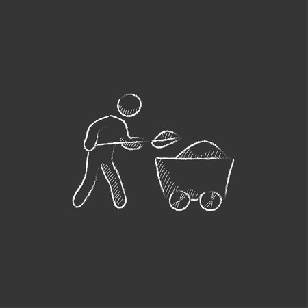 Mining worker with trolley. Hand drawn in chalk vector isolated icon for web, mobile and infographics. Иллюстрация