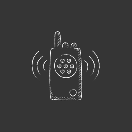 Radio set. Hand drawn in chalk vector isolated icon for web, mobile and infographics. Çizim